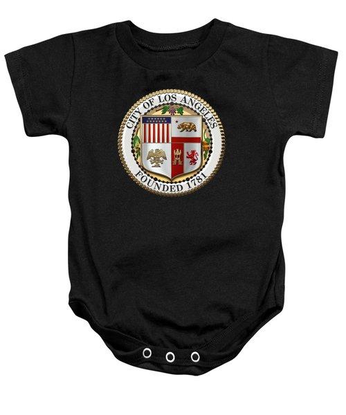 Los Angeles City Seal Over Black Velvet Baby Onesie by Serge Averbukh