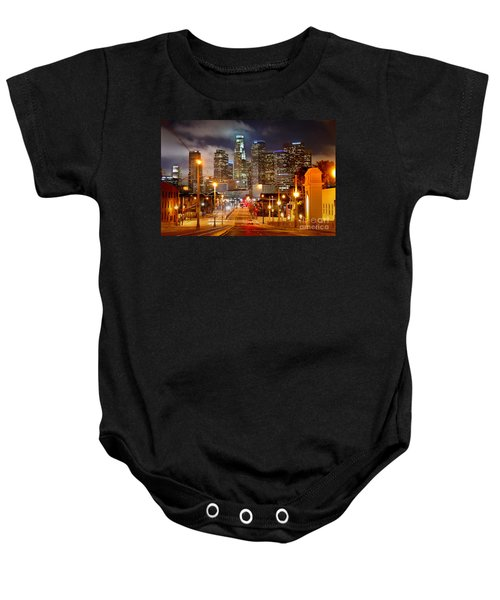 Los Angeles Skyline Night From The East Baby Onesie by Jon Holiday