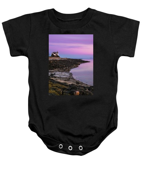 Maine Prospect Harbor Lighthouse Sunset In Winter Baby Onesie