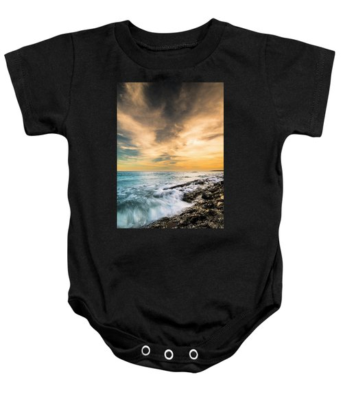 Maine Rocky Coastal Sunset Baby Onesie