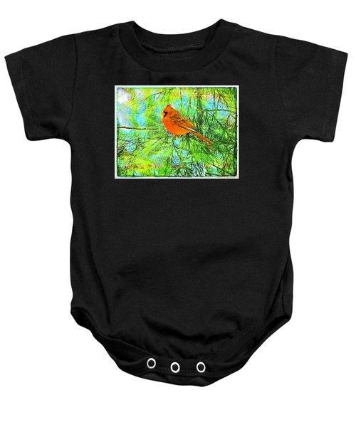 Male Cardinal In Juniper Tree Baby Onesie