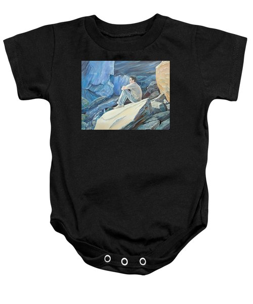 Man On The Rocks Baby Onesie
