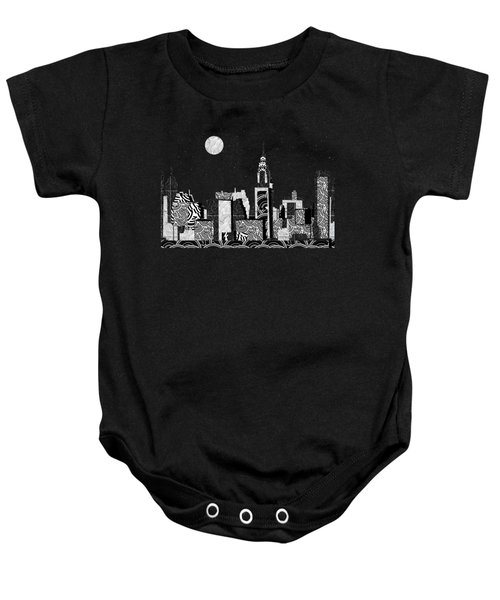 Manhattan At Night New York Swings Baby Onesie by Cecely Bloom