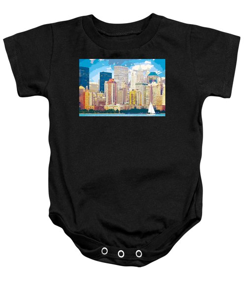 Manhattan Skyline New York City Baby Onesie