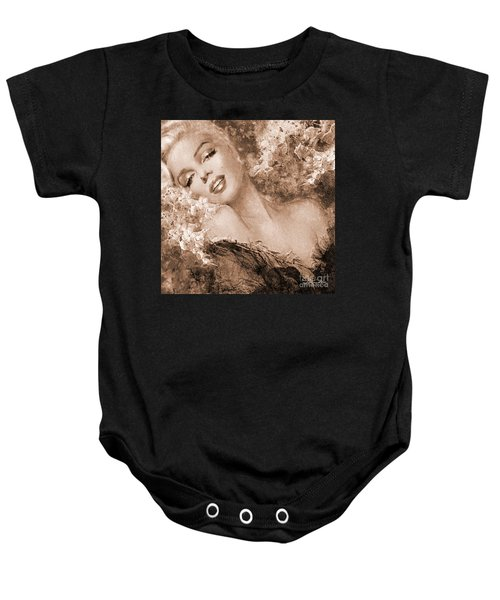 Marilyn Cherry Blossoms, Sepia Baby Onesie