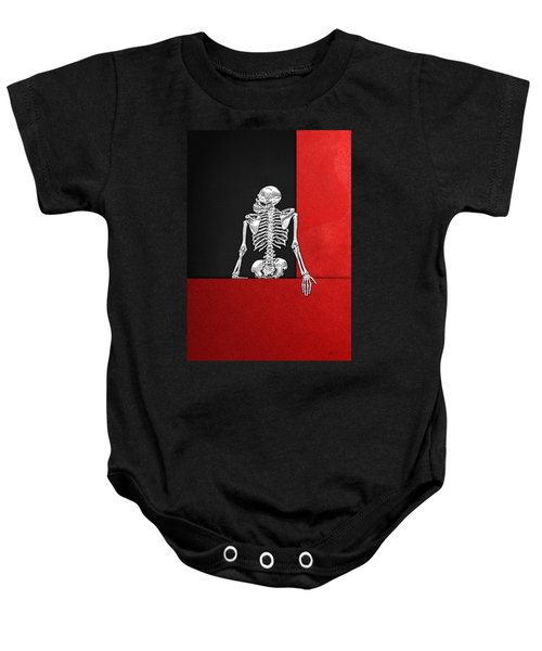 Memento Mori - Skeleton On Red And Black  Baby Onesie