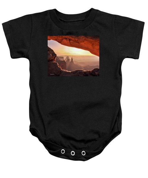 Mesa Arch At Sunrise, Washer Woman Formation , Canyonlands National Park, Utah Baby Onesie