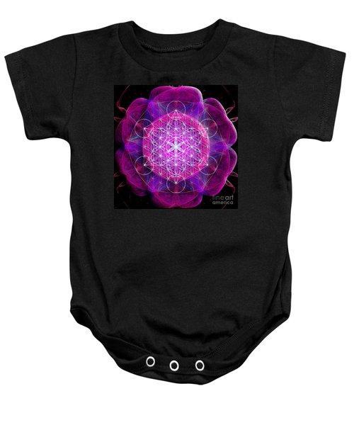 Metatron's Cube On Fractal Pletals Baby Onesie