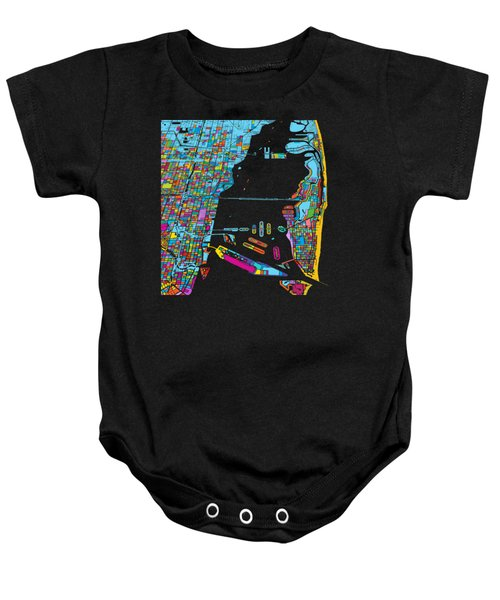 Miami And Miami Beach Colorful Map Baby Onesie by Knut Hebstreit