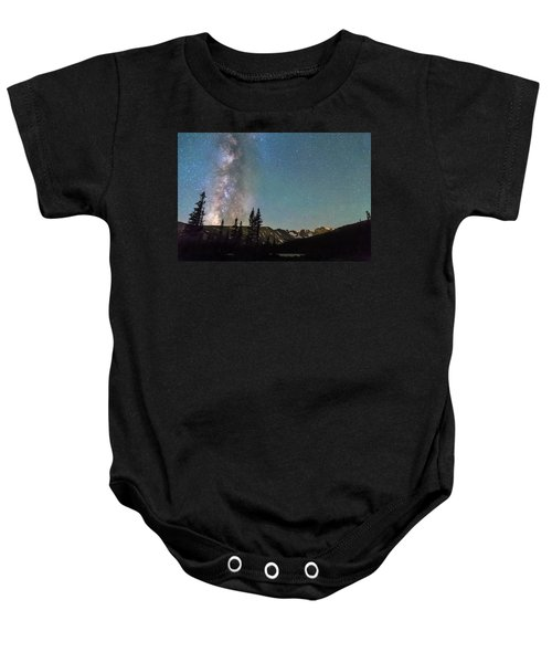 Middle Of The Night Milky Way Above The Rocky Mountains Baby Onesie