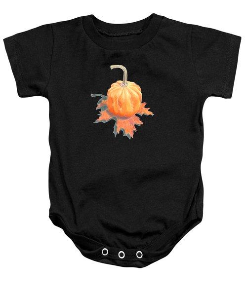 Miniature Pumpkin On Oak Leaf Still Life Baby Onesie