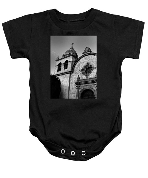 Baby Onesie featuring the photograph Mission Carmel Bell Tower In Black And White by Renee Hong