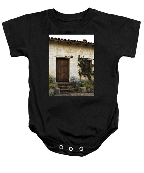 Baby Onesie featuring the photograph Mission Door by Renee Hong