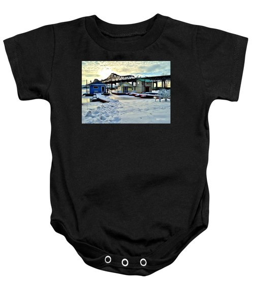Mississippi River Boathouses Baby Onesie
