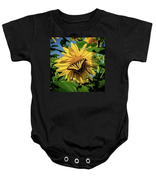 Male Eastern Tiger Swallowtail - Papilio Glaucus And Sunflower Baby Onesie