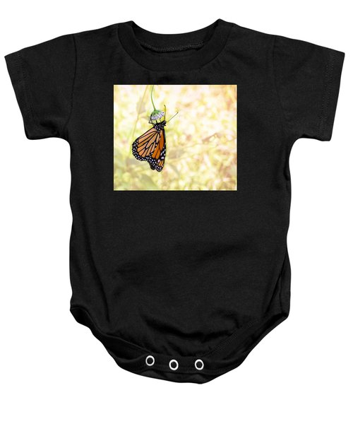 Monarch Butterfly Hanging On Wildflower Baby Onesie