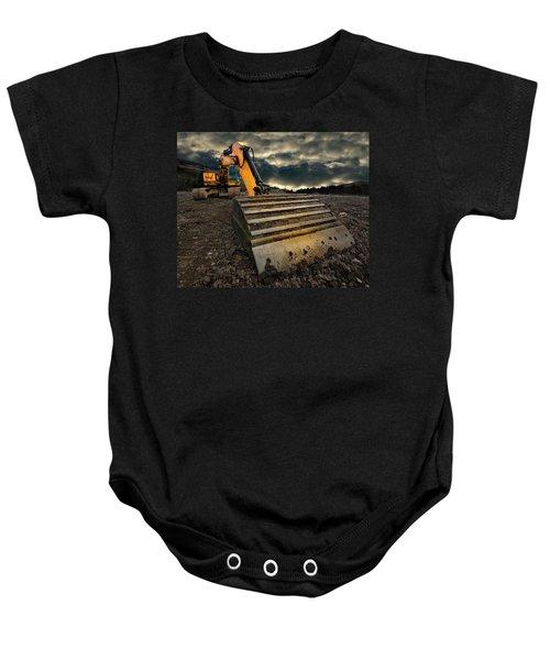 Moody Excavator Baby Onesie
