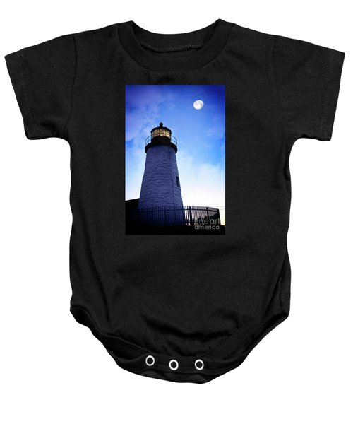 Moon Over Lighthouse Baby Onesie