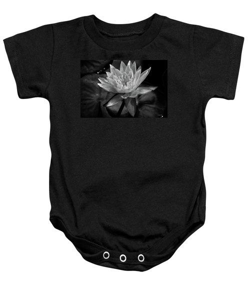 Moonlit Water Lily Bw Baby Onesie
