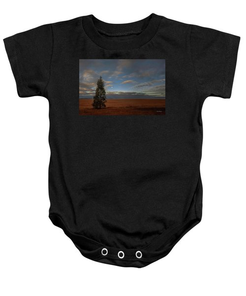 Moonset  In A Large Morning Sky Baby Onesie