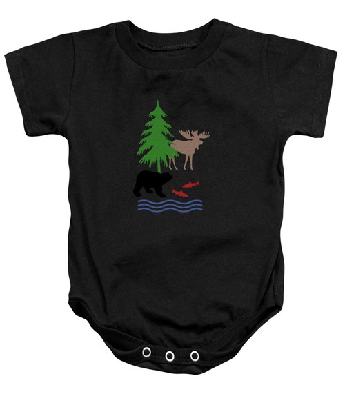 Moose And Bear Pattern Art Baby Onesie