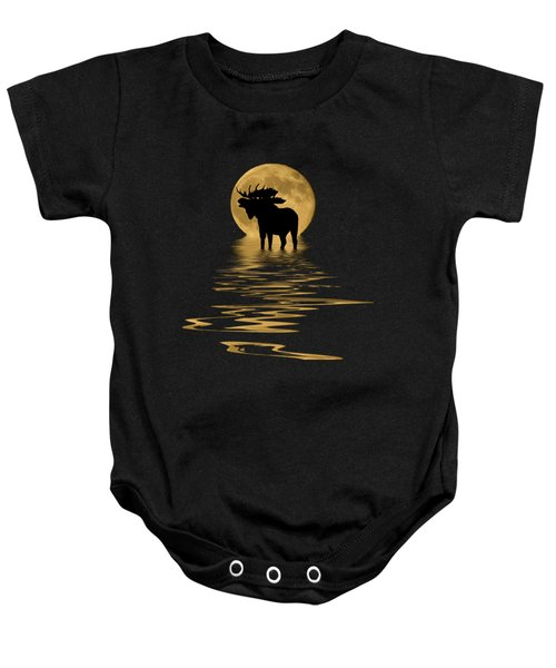 Moose In The Moonlight Baby Onesie by Shane Bechler