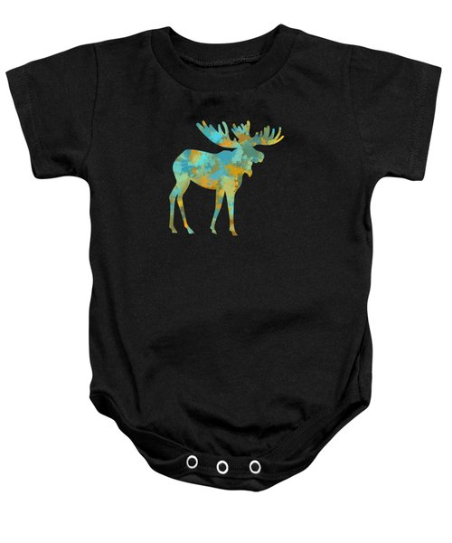 Moose Watercolor Art Baby Onesie