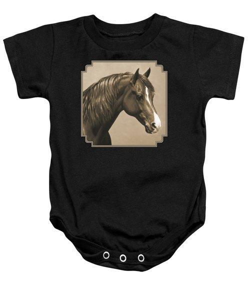 Morgan Horse Painting In Sepia Baby Onesie