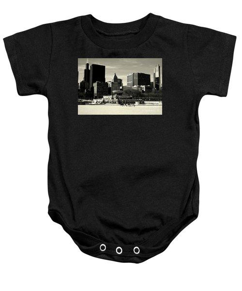 Morning Dog Walk - City Of Chicago Baby Onesie