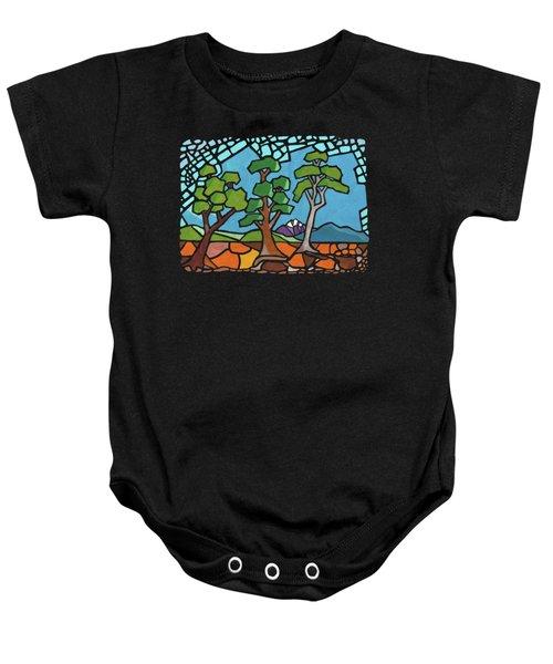 Mosaic Trees Baby Onesie