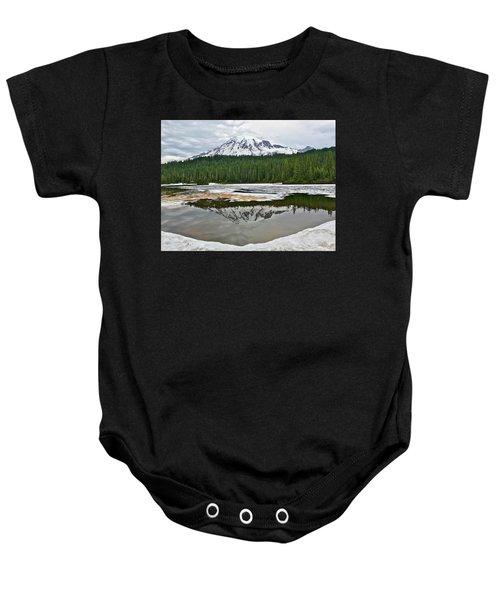 Mount Rainier From Reflection Lakes Baby Onesie