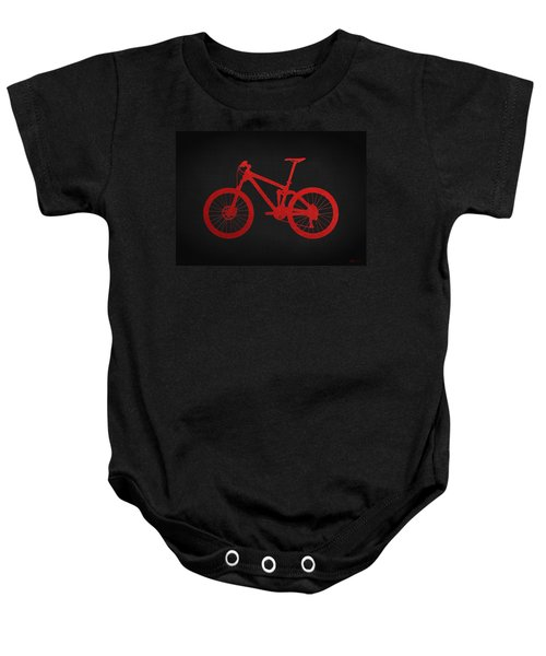Mountain Bike - Red On Black Baby Onesie
