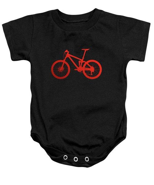 Mountain Bike Silhouette - Red On Black Canvas Baby Onesie