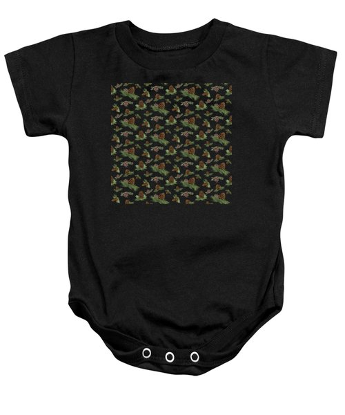 Mountain Lodge Cabin In The Forest - Home Decor Pine Cones Baby Onesie