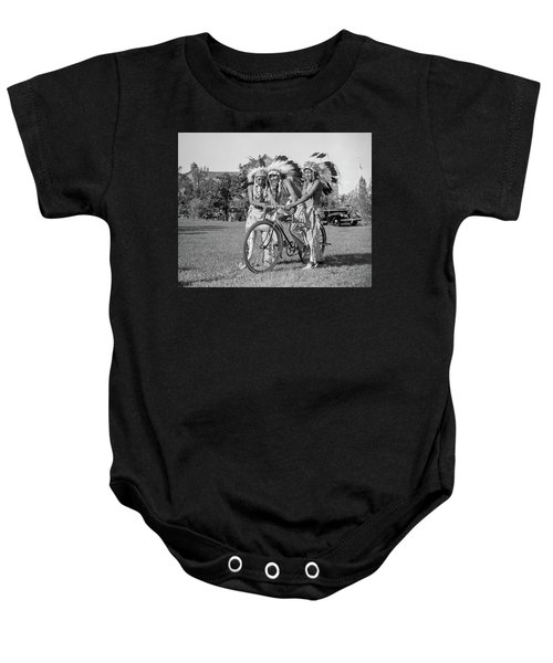 Native Americans With Bicycle Baby Onesie