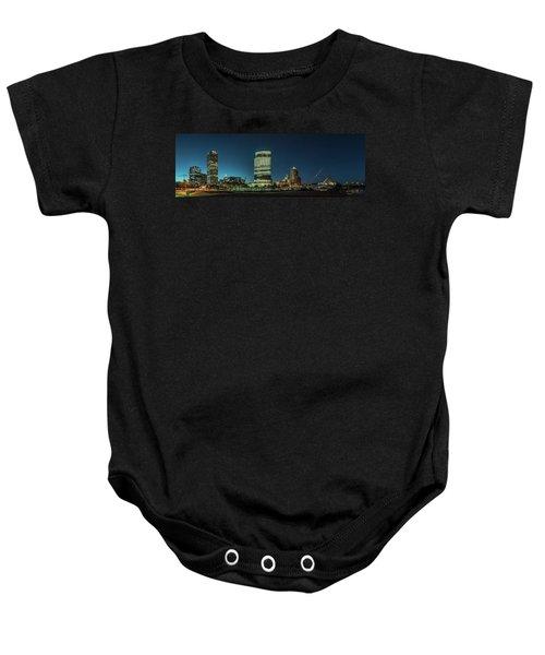 Baby Onesie featuring the photograph New Milwaukee Skyline by Randy Scherkenbach