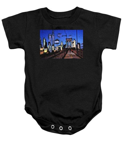 New York Blue - Modern Art Painting Baby Onesie
