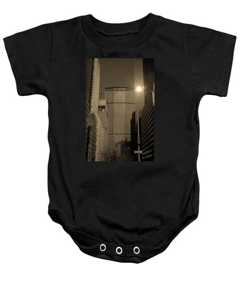 Baby Onesie featuring the photograph New York City 1982 Sepia Series - #7 by Frank Romeo