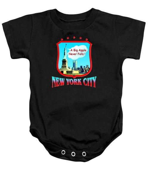 New York City Big Apple - Tshirt Design Baby Onesie by Art America Gallery Peter Potter