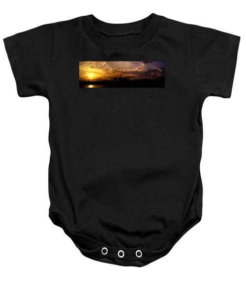 New York City Skyline At Sunset Panorama Baby Onesie