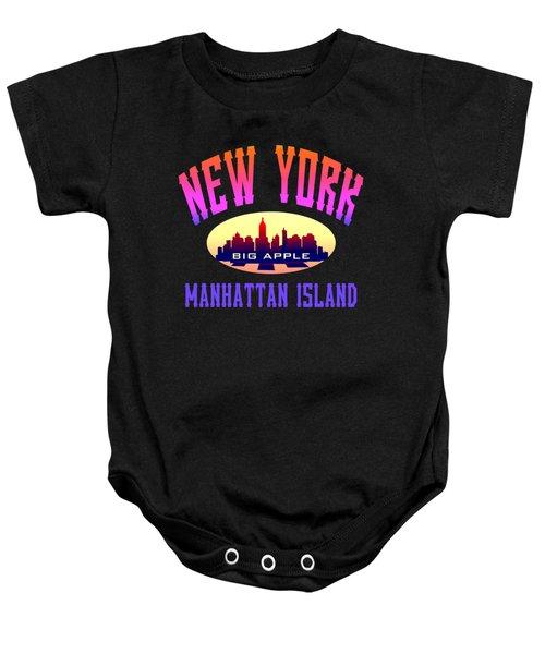 New York Manhattan Island Design Baby Onesie