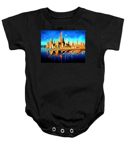 New York Skyline In Blue Orange - Modern Fantasy Art Baby Onesie