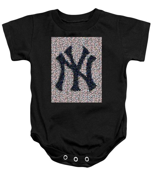 New York Yankees Bottle Cap Mosaic Baby Onesie