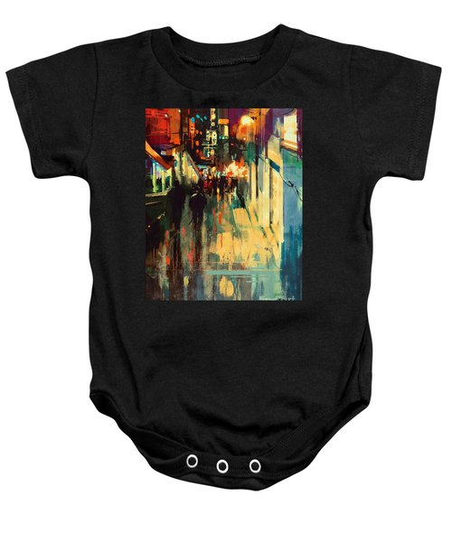 Baby Onesie featuring the painting Night Alleyway by Tithi Luadthong