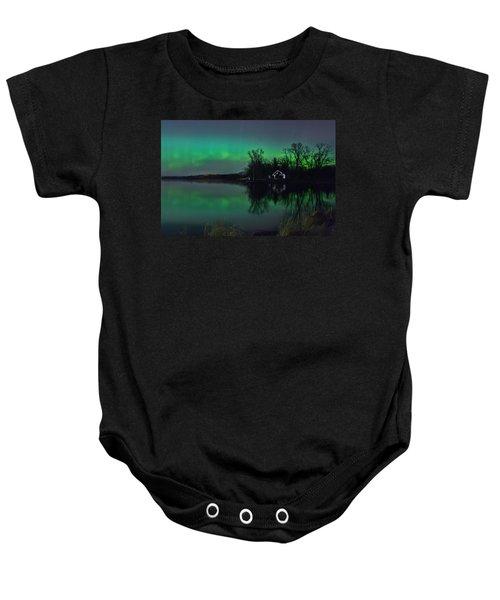 Northern Lights At Gull Lake Baby Onesie