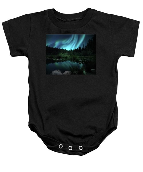 Northern Lights Over Lily Pond Baby Onesie