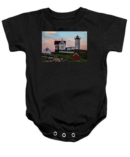Nubble Lighthouse At Dusk  Baby Onesie