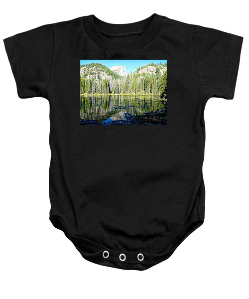 Nymph Lake And Flattop Mountain Baby Onesie