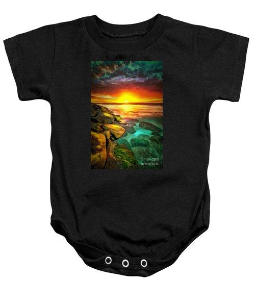 Ocean Lit In Ambiance Baby Onesie