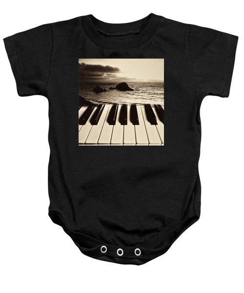 Ocean Washing Over Keyboard Baby Onesie